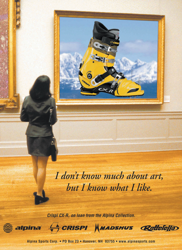 Aplina print ad, women looking at ski boot artwork