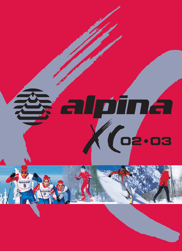 Aplina cross country catalog design for 2002-2003 season with multiple skiers