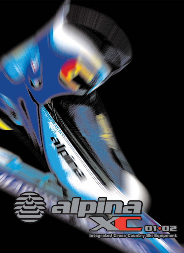 Alpina poster design, colorful blurred close up of a cross country ski boot