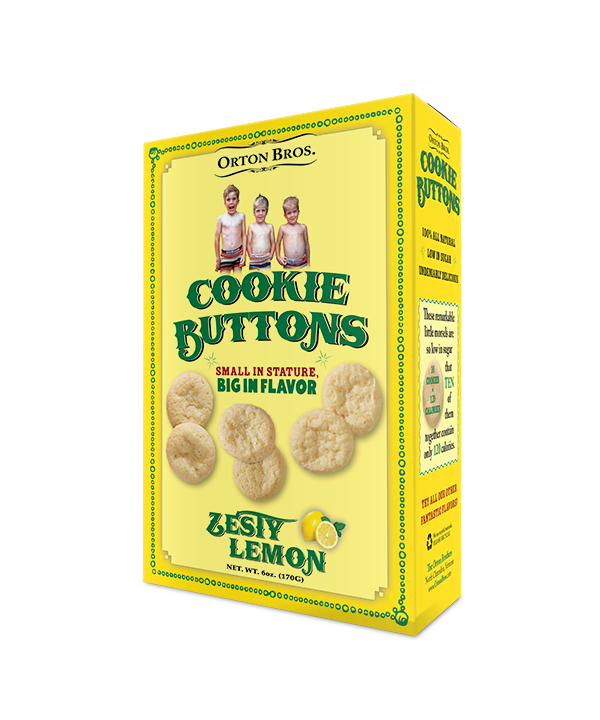 Orton Brothers cookie buttons box design, front view