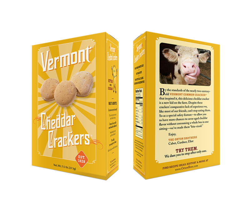 Vermont Cheddar Crackers box design, front and back view