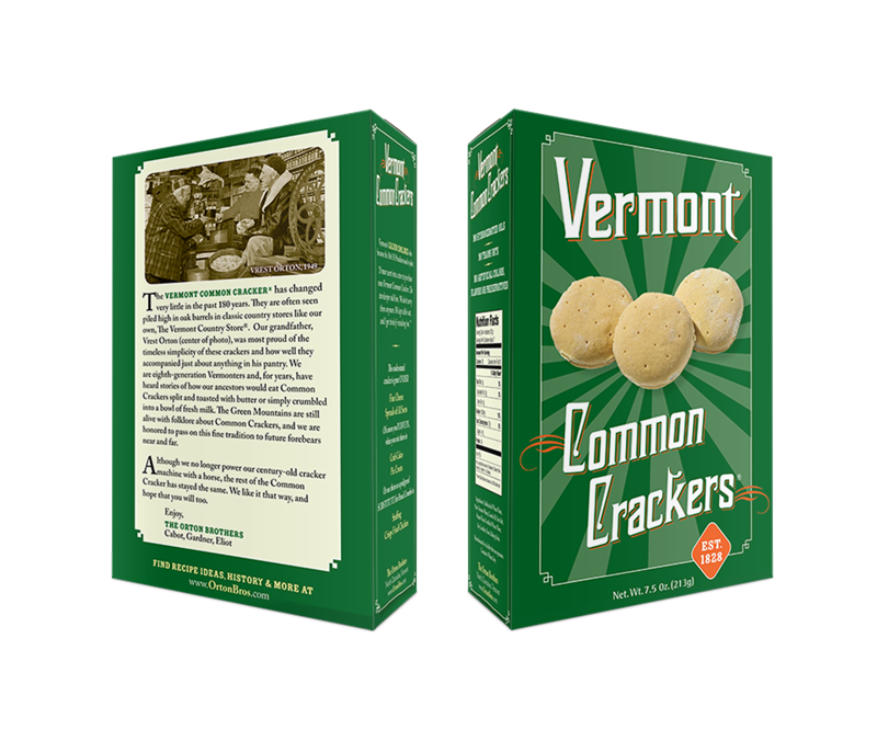 Vermont Common Crackers box design, front and back view