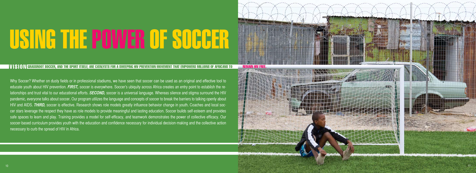 "young African boy sitting on a soccer field ""Using the power of soccer"" headline"
