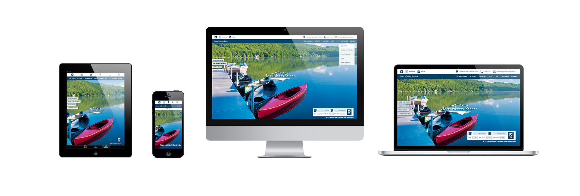 iPad, iPhone, iMac, and Macbook showing the Lake Morey Resort homepage