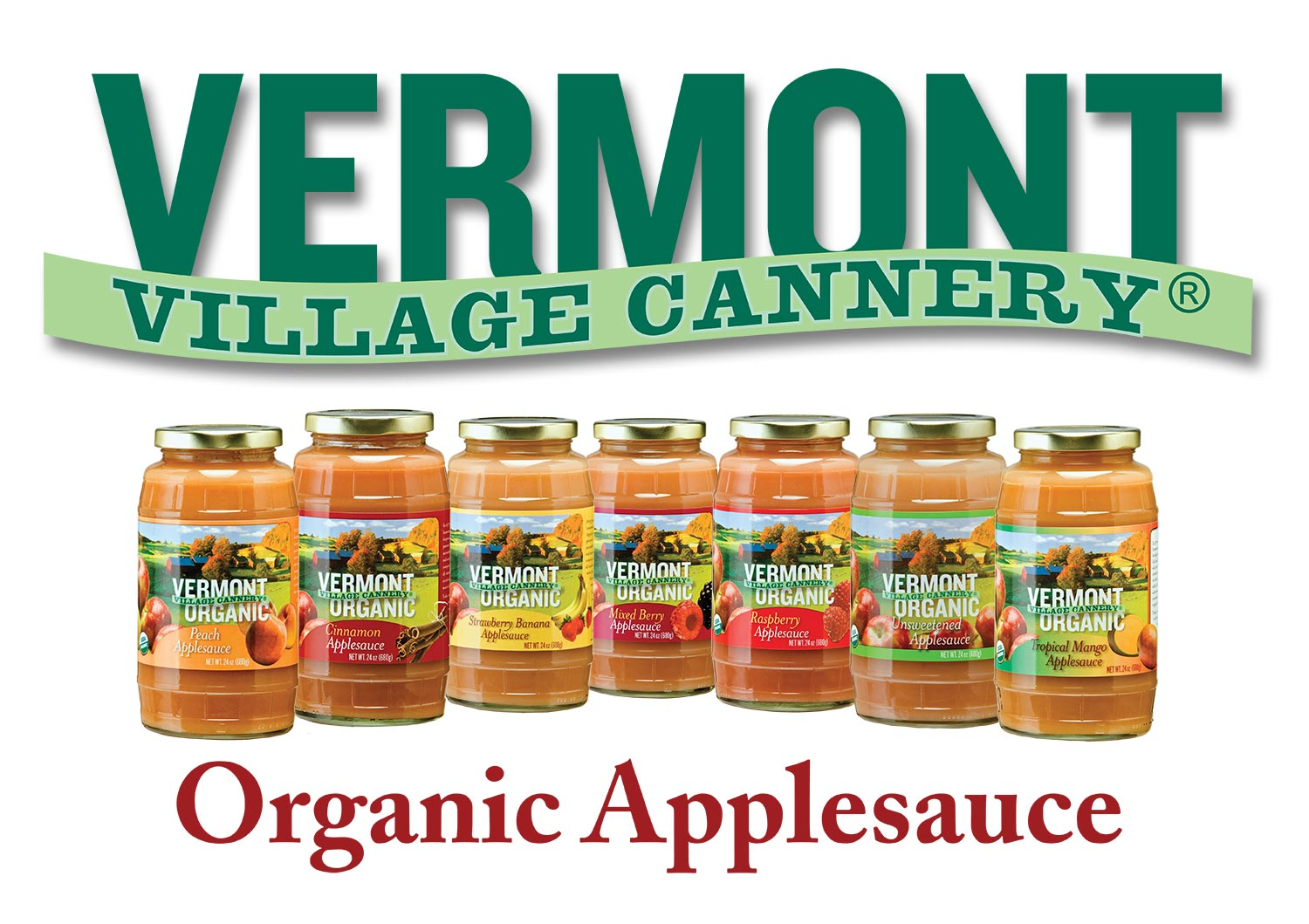 jars of applesauce in a row under text that says Vermont Village Cannery