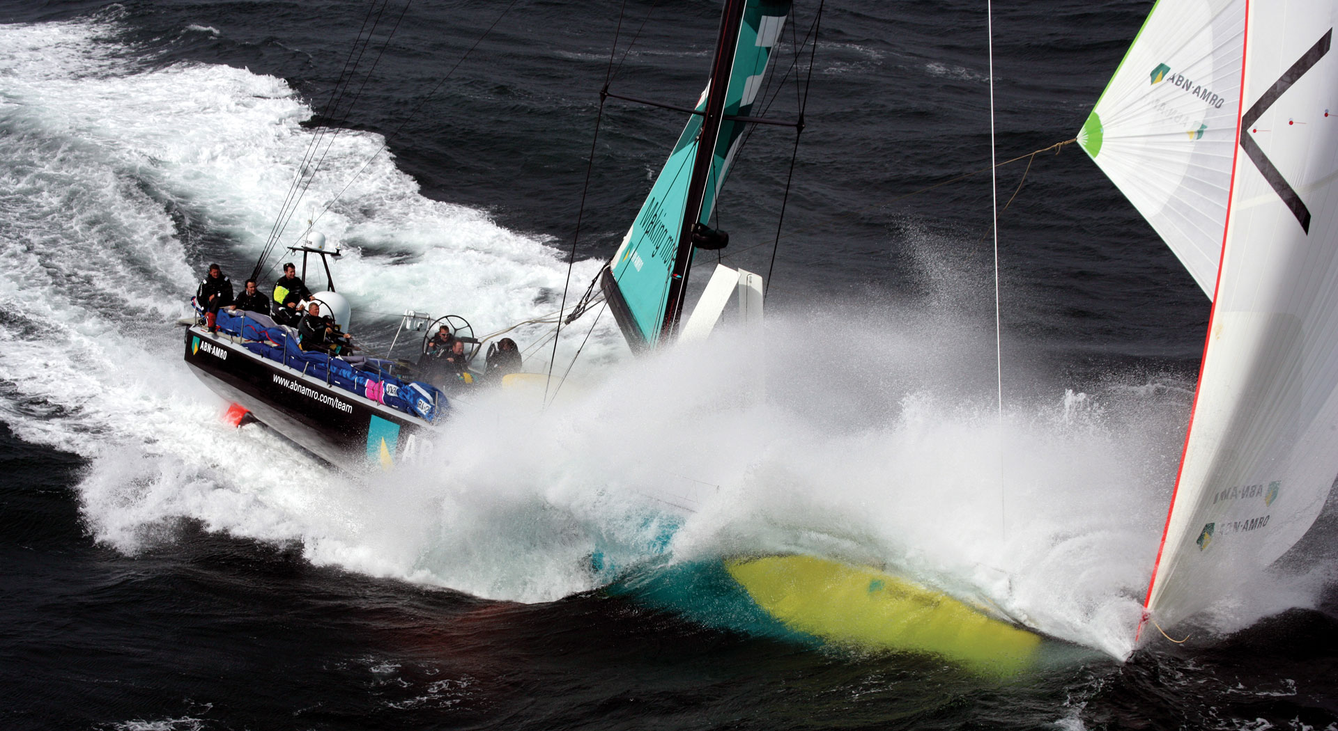 sailboat during Volvo ocean race crashing threw the water