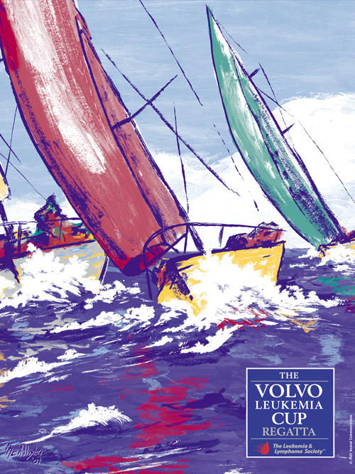 volvo leikemia cup poster with sailboat painting