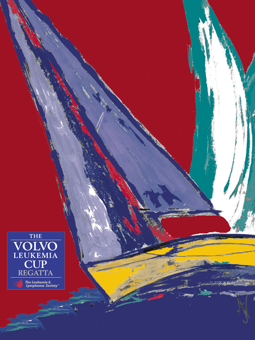 volvo leukemia cup poster with sailboat painting and red background