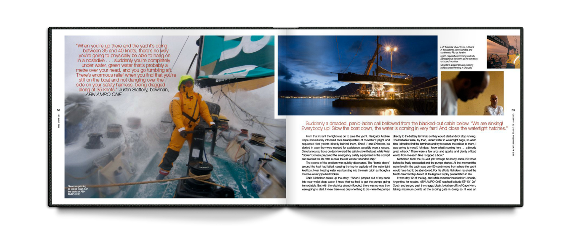 spread from the volvo life at the extreme book with boat captain stearing with waves crashing over bow