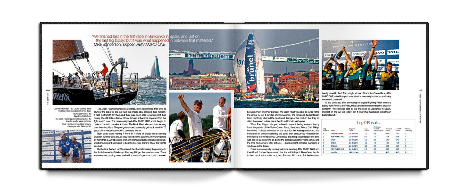 spread from the Volvo life at the extreme book with a collage of race photos