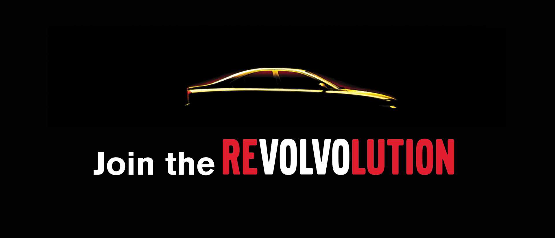 "volvo ad with car sillouette and ""Join the reVOLVOlution"""