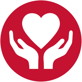 giving, hands and heart icon red