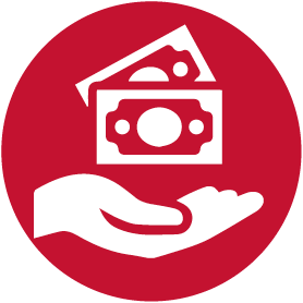 giving money, donation icon red