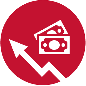 money funds graph icon red