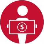 person with money icon red