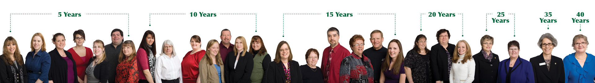 years of service photo showing nearly 30 employees with 5 years to 40 years experience