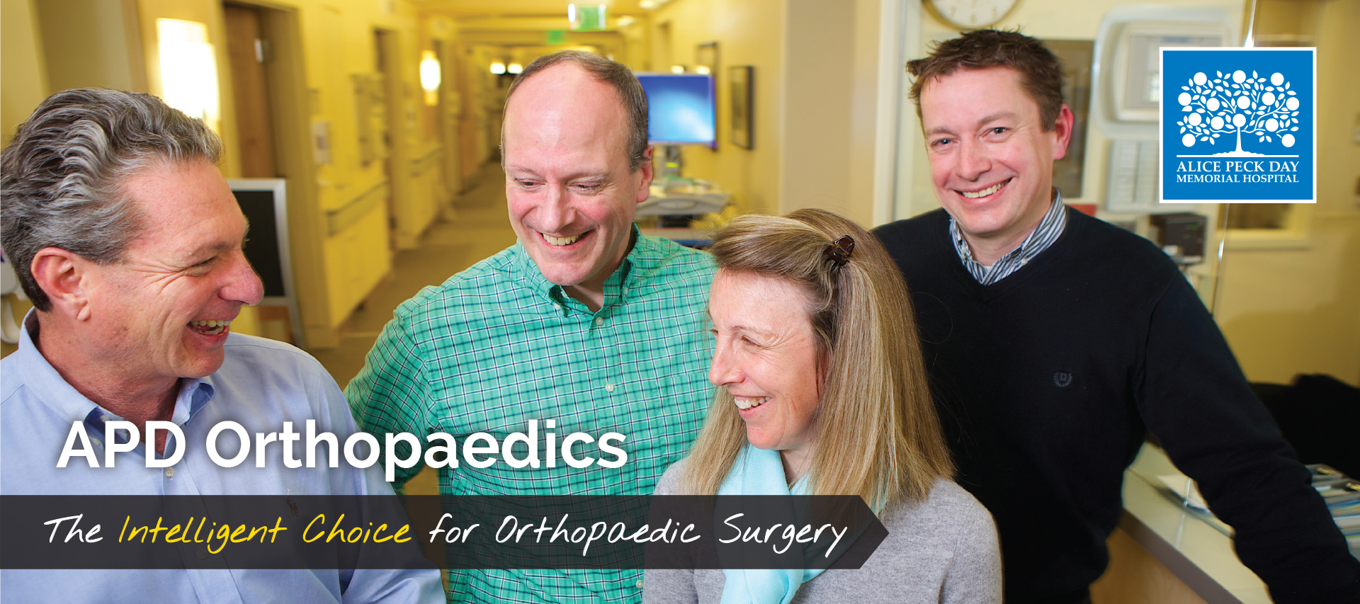 "Cover for orthopaedics brochure for APD showing the team and the words ""The intelligent choice for orthopaedic surgery"""