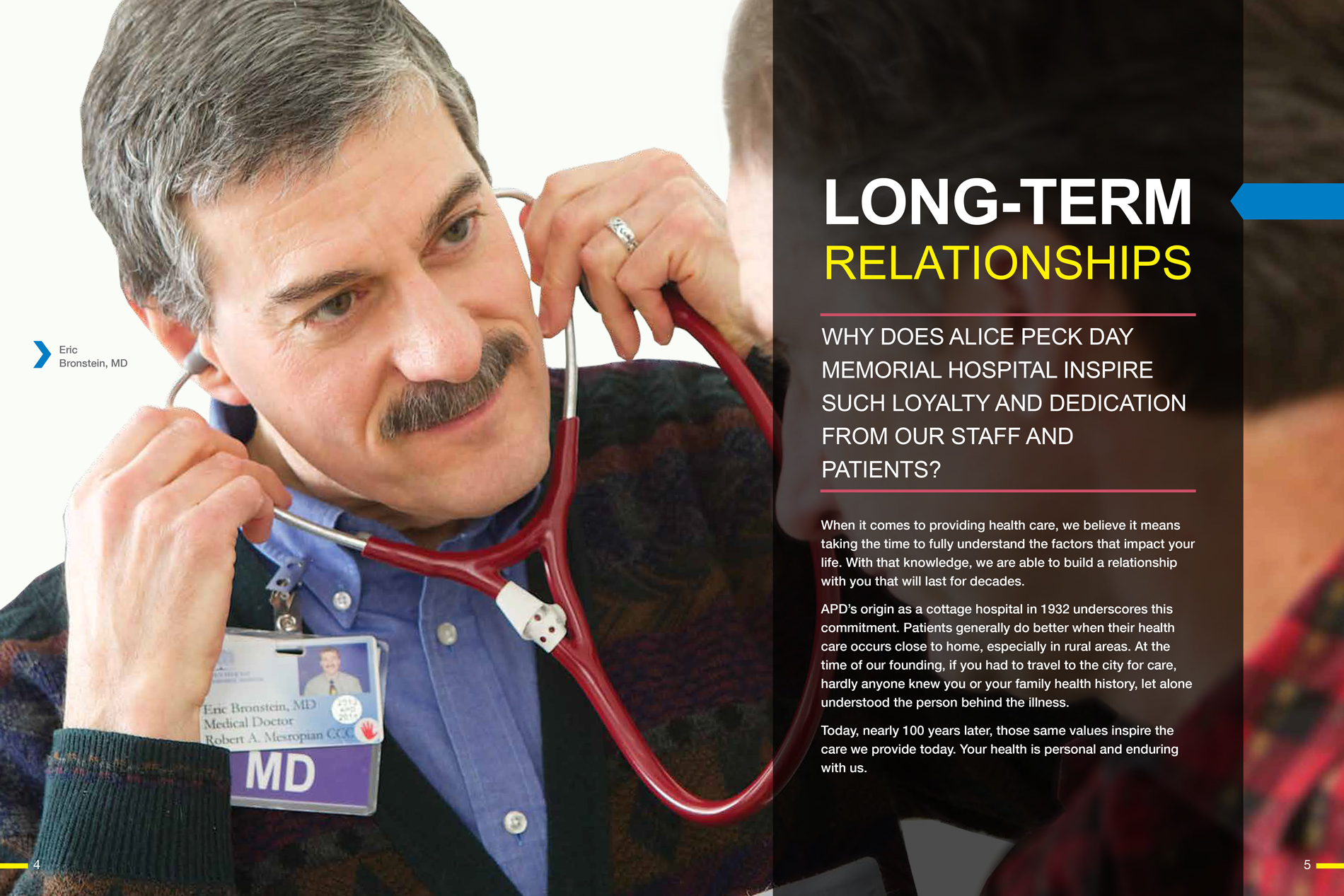 Spread from the APD prospectus brochure showing Dr. Bronstein