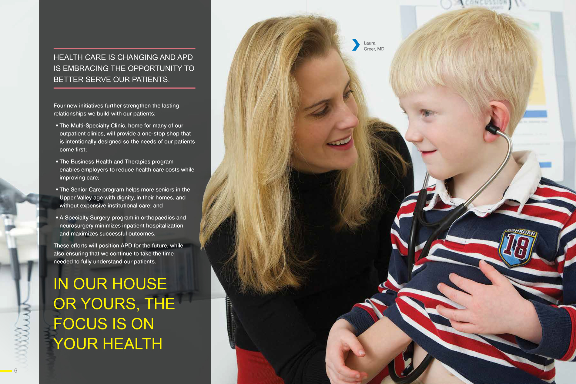 spread APD prospectus brochure showing Dr Greer with a young boy patient
