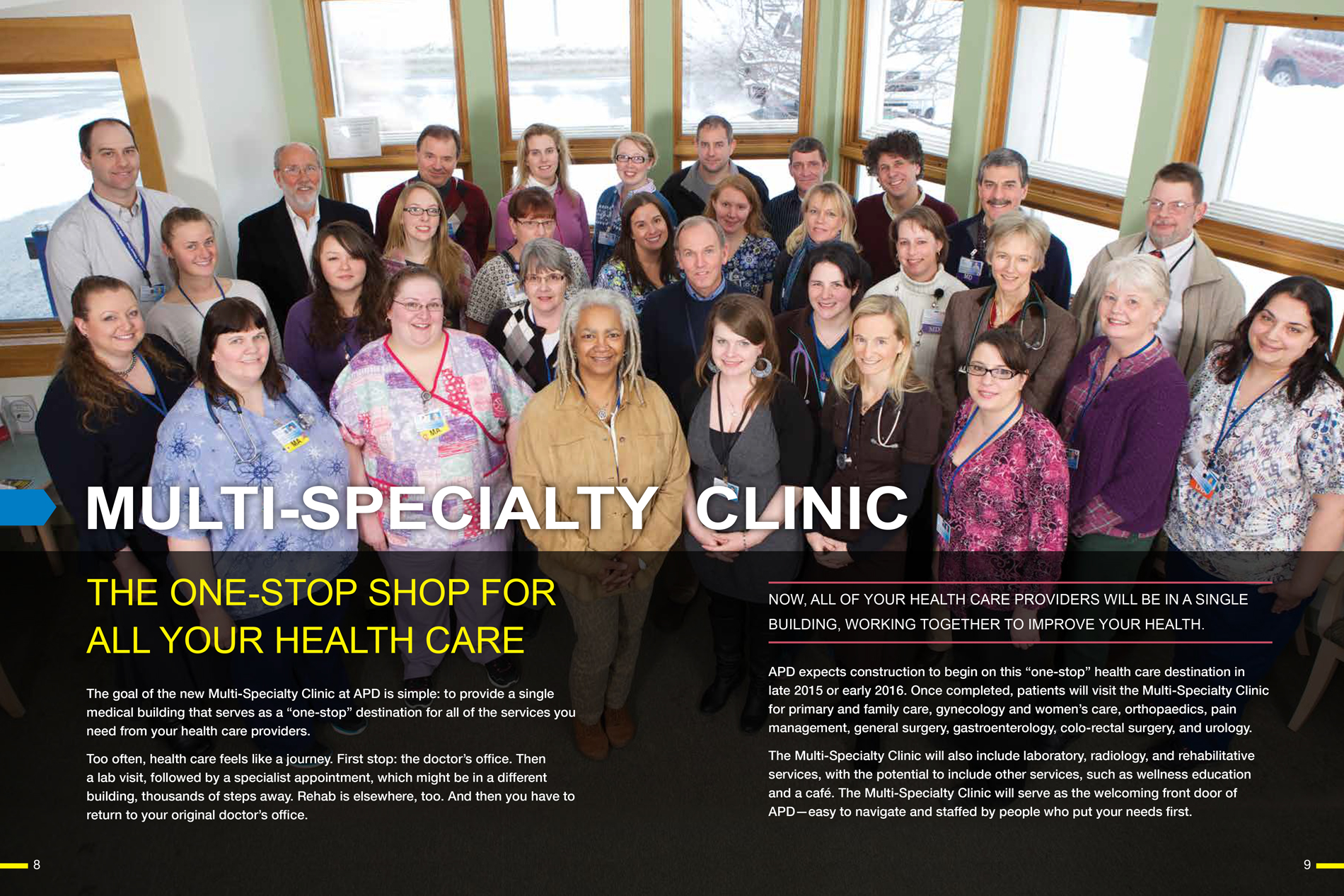 spread from the APD prospectus brochure showing the multi-specialty clinic team