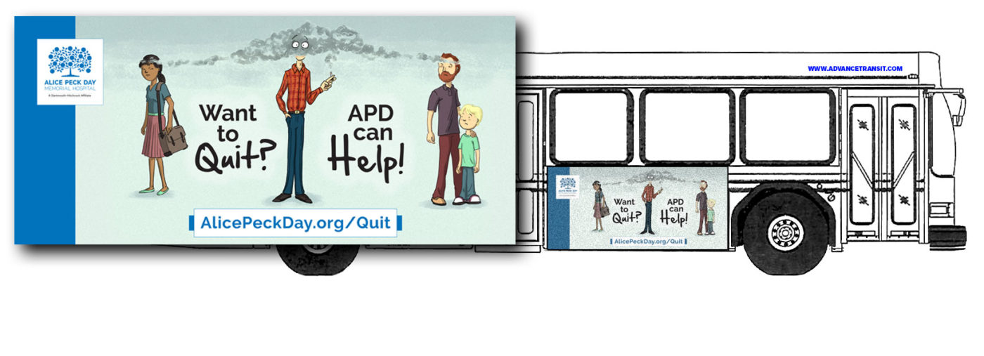 drawing of advance transit bus with a graphic layout of a quit smoking ad from alice peck day hospital