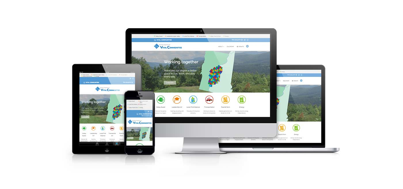 visual representation of the Vital Communities website on various devices