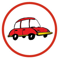 Icon with a red car illustration