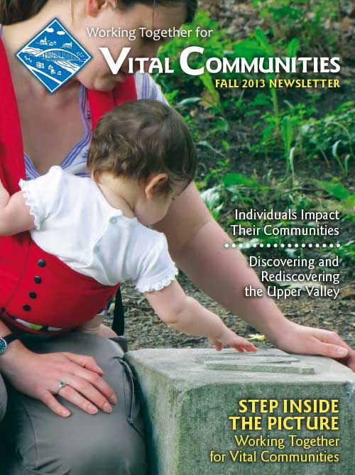 Sample of newsletter cover - Mother with daughter exploring the outdoors