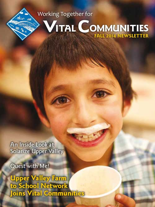 Sample of newsletter cover - Young boy looking at camera with a milk mustache