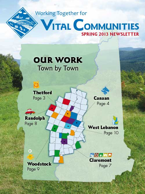 Sample of newsletter cover - Atlas view of Vermont and New Hampshire showing town lines