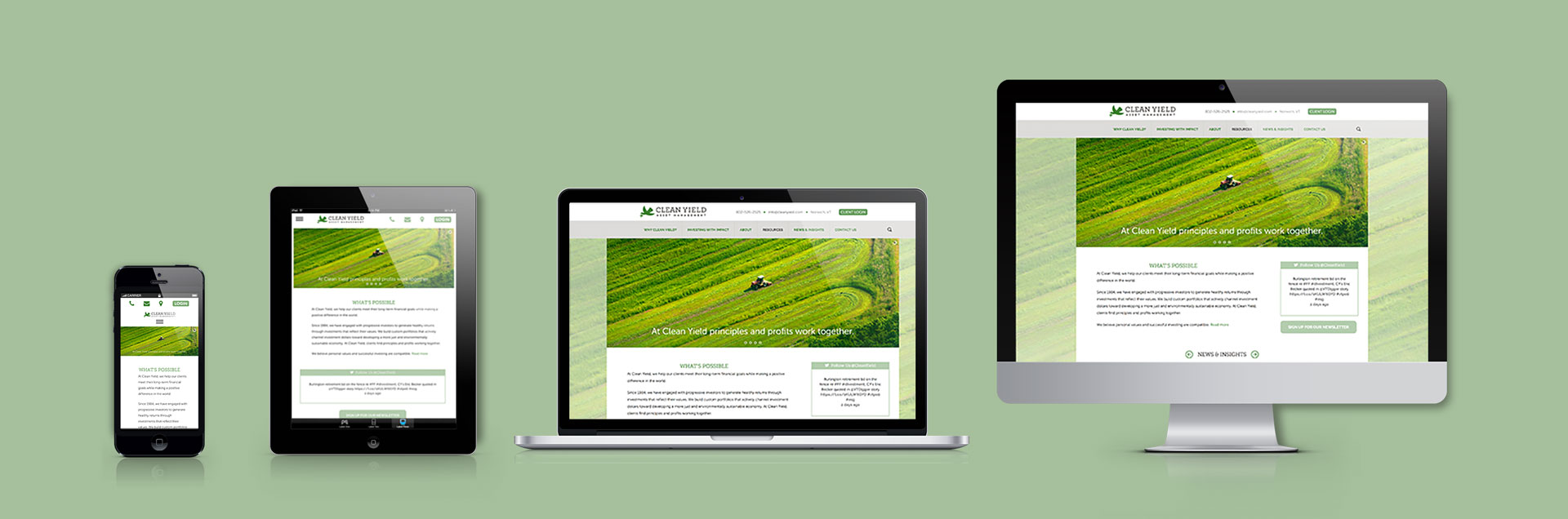 Display of new website design for Clean Yield shown through various device screen sizes
