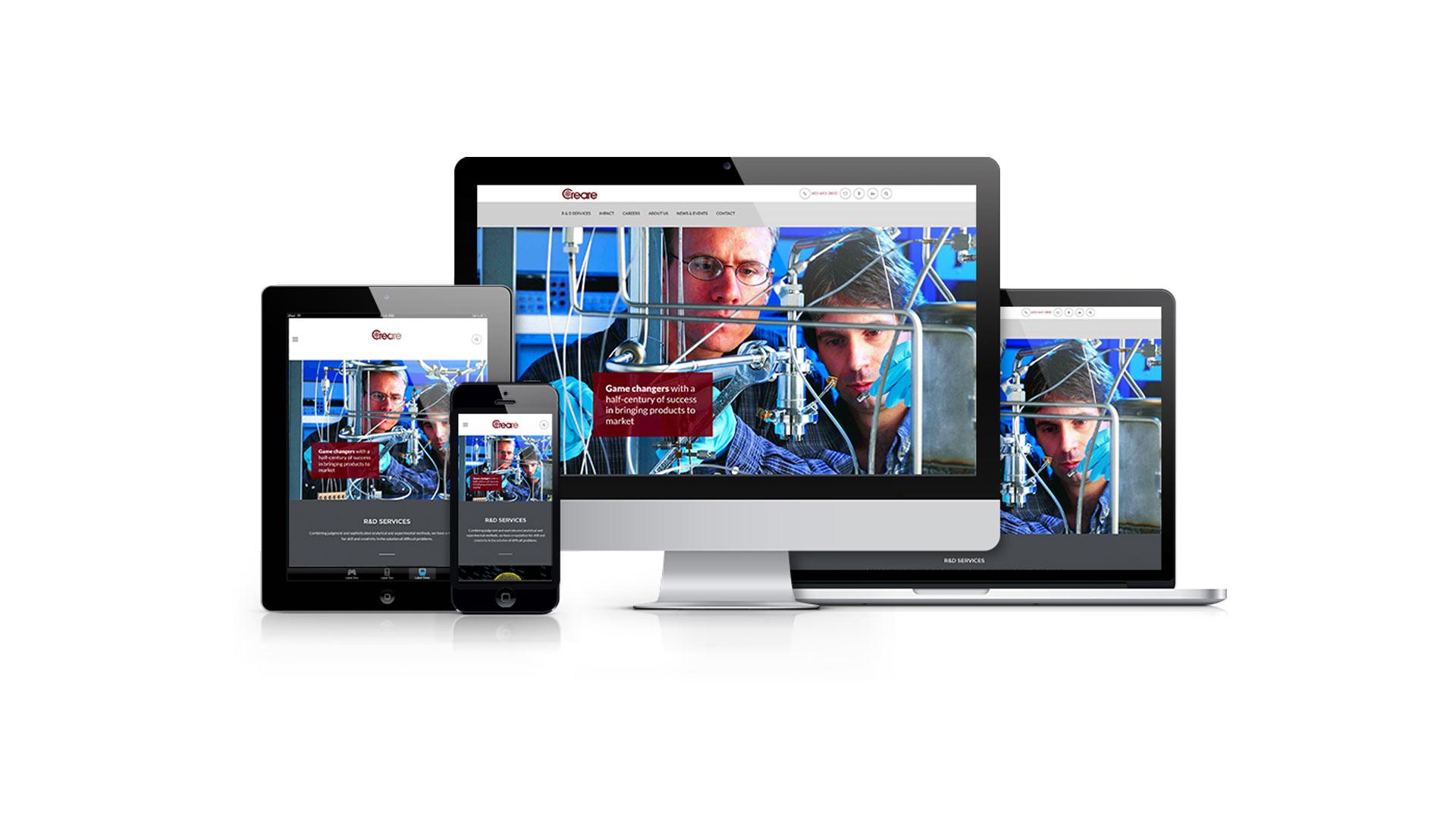iPad, iPhone, iMac, and Macbook displaying the Creare homepage