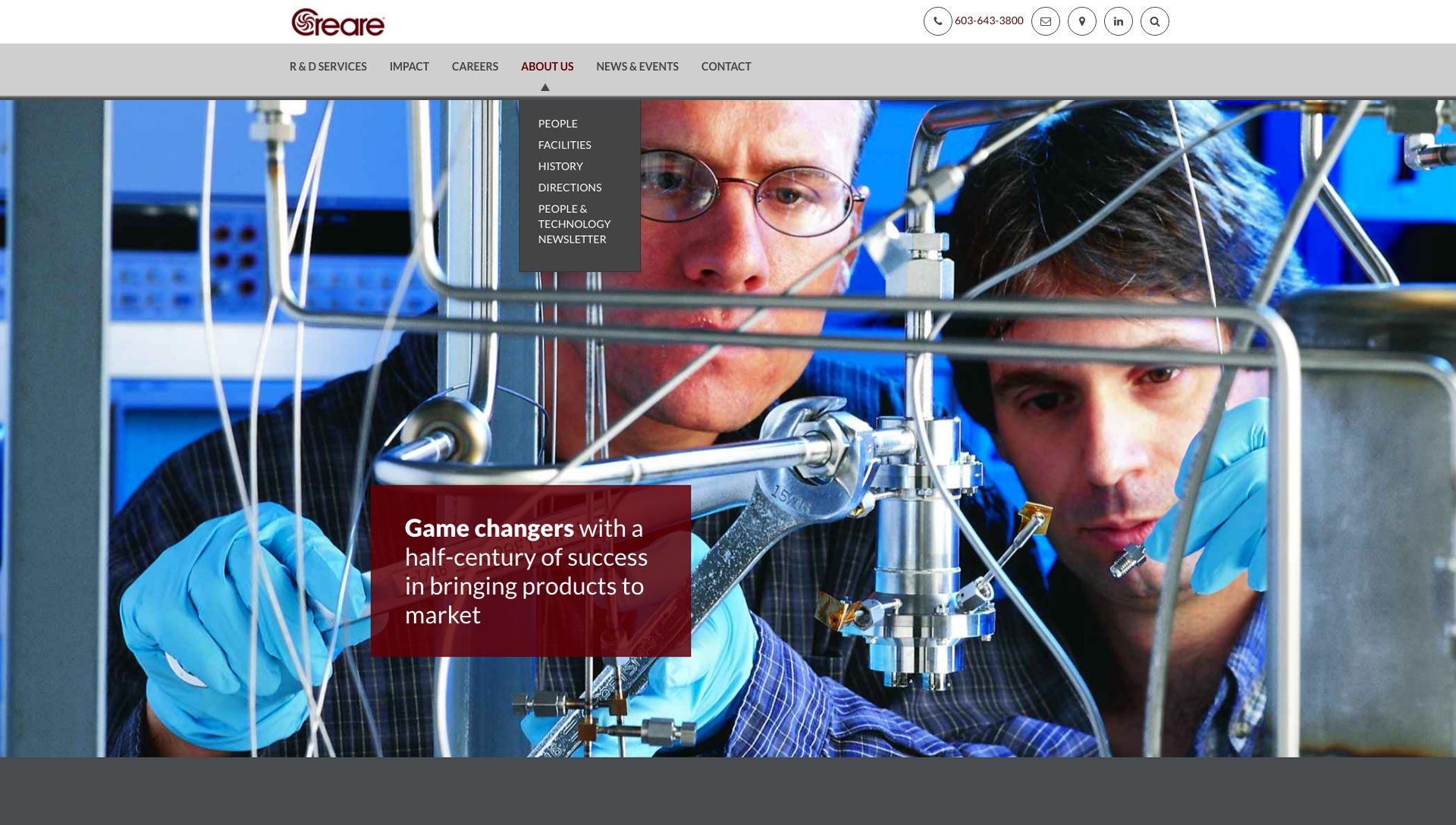 "homepage design for Creare ""Game changers with a half-century of success in bringing products to market"""