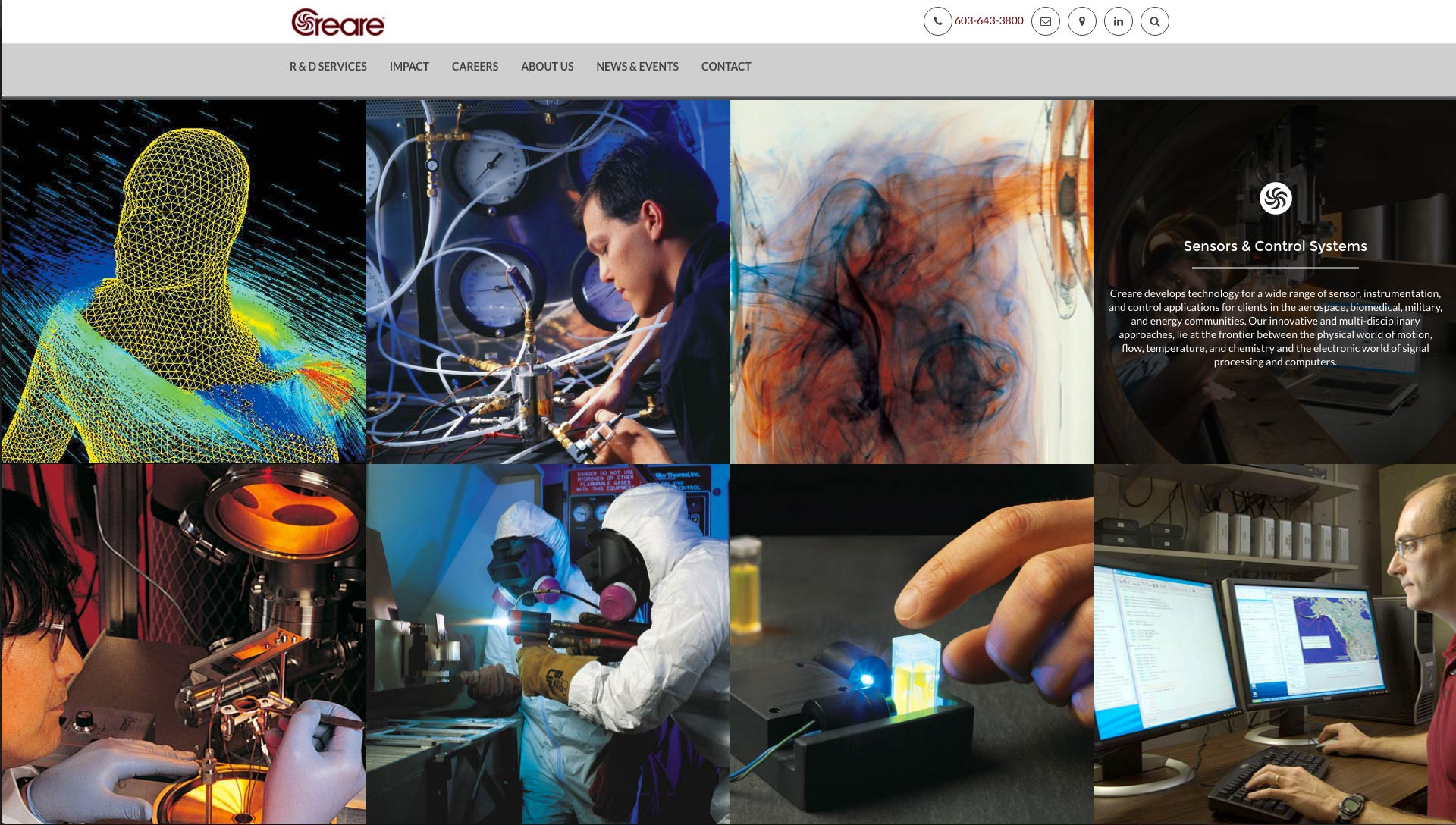 Services image blocking design for the Creare website