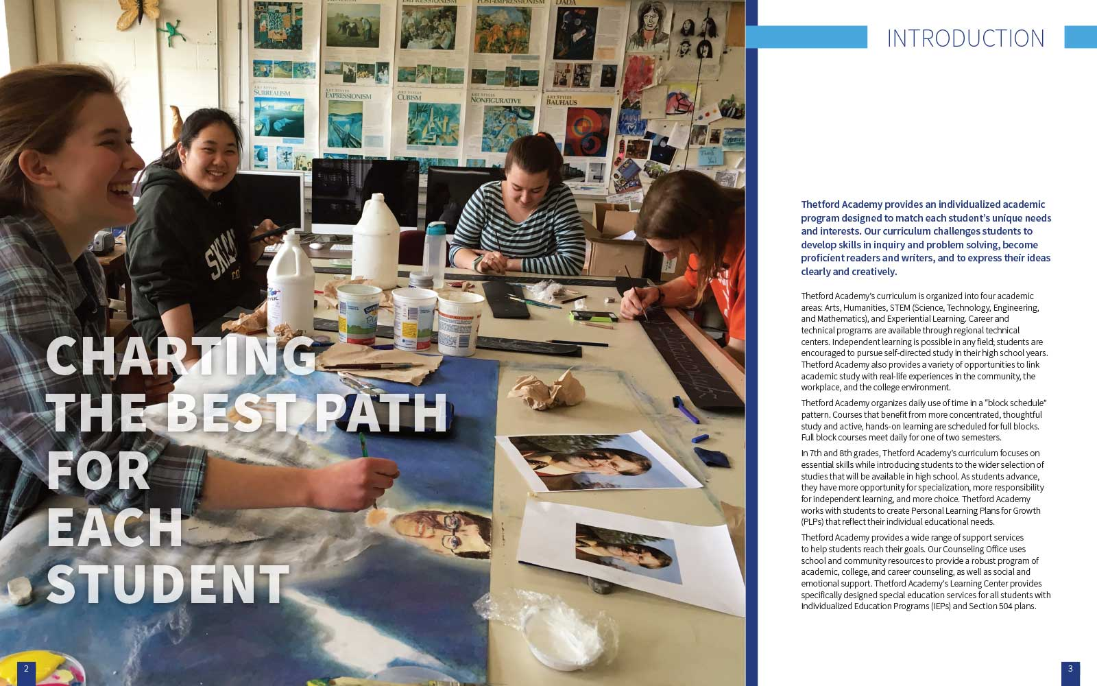 four happy laughing students sitting at a large classroom table making art next to copy promoting Thetford Academy