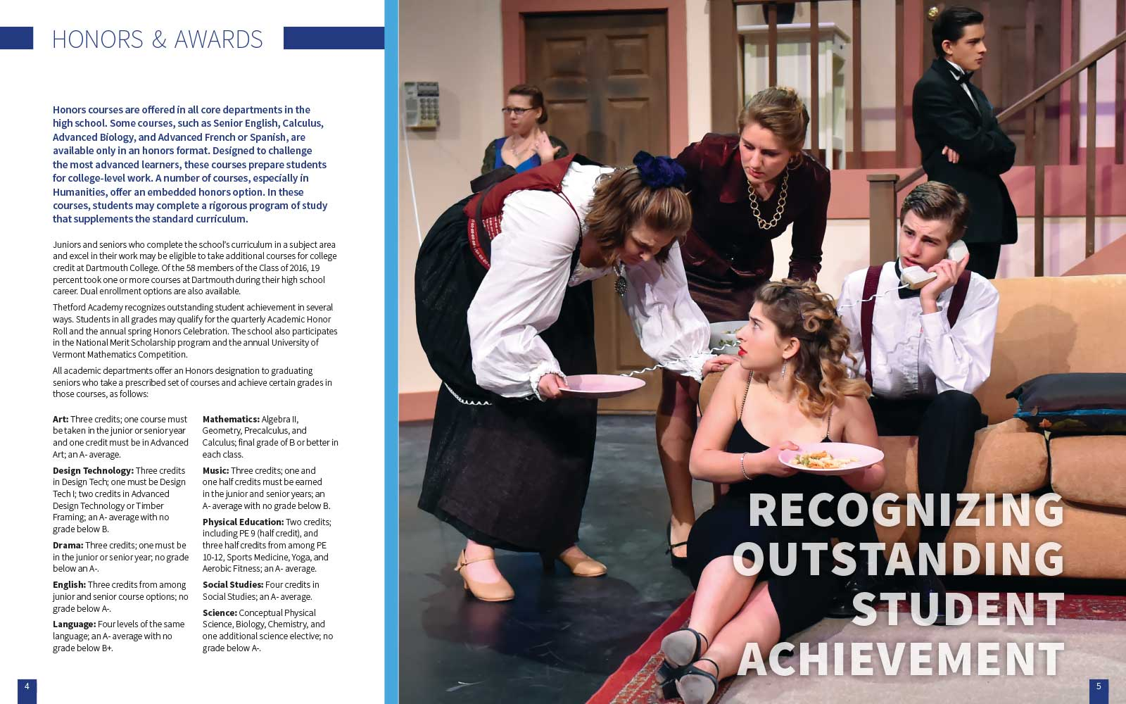 six students acting in a play on stage looking surprised about the ongoing drama next to copy promoting Thetford Academy