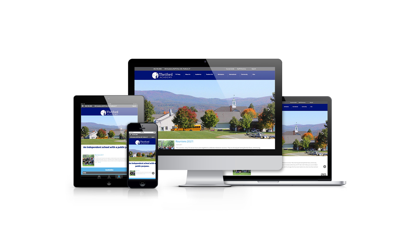 Samples of the redesigned website for Thetford Academy