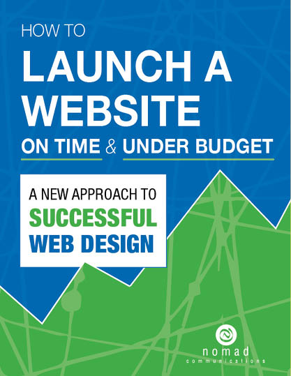 blue and green book cover with graph lines going up from left to right. Title is How to Launch a Website on Time & Under Budget: A New Approach to Successful Web Design