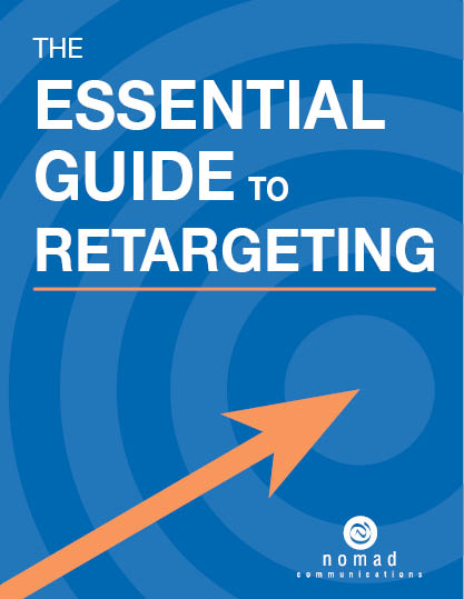 Blue book cover with orange arrow pointing to bullseye. Title is The Essential Guide to Retargeting