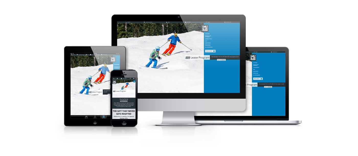 iPad, iPhone, iMac, and Macbook showing the golf and ski homepage with a picture of a father and daughter skiing